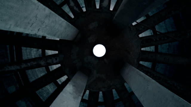 looking up at bottom of old concrete circle construction - concrete stock videos & royalty-free footage