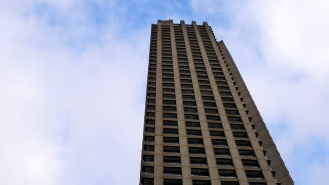 looking up at one of the towers of the barbican estate, london - flat stock videos & royalty-free footage