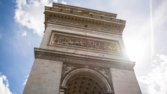 looking up the arc de triomphe in paris - french revolution stock videos & royalty-free footage