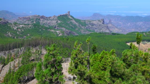 lookout, mirador pico de las nieves, roque nublo, tejeda, gran canaria island, canary islands, spain, europe - roque nublo grand canary stock videos and b-roll footage