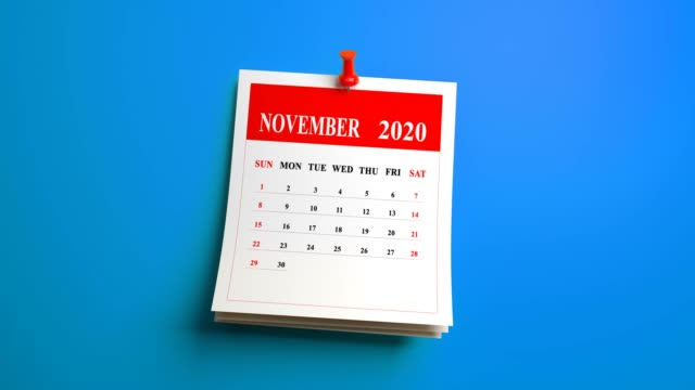 loop 3d november month page of calendar 2020 year on blue background - the march of time stock videos & royalty-free footage