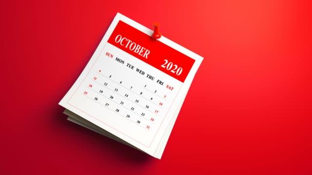 loop 3d october calendar 2020 year on red background - november stock videos & royalty-free footage