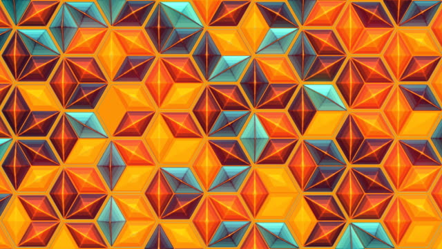 loop animation background with colored hexagonal shape. 3d rendering abstract polygonal structure. 4k, uhd resolution - mosaic stock videos & royalty-free footage