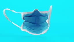 Loop animation of Medical mask.3D medical Background.3D Animation, Surgical equipment,