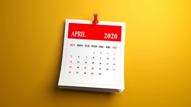 loop april month page of calendar 2020 year on yellow background - aprile video stock e b–roll
