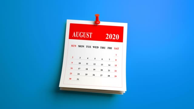 loop august month calendar 2020 year on blue background - august stock videos & royalty-free footage