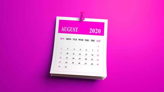 loop august month calendar 2020 year on pink background - august stock videos & royalty-free footage