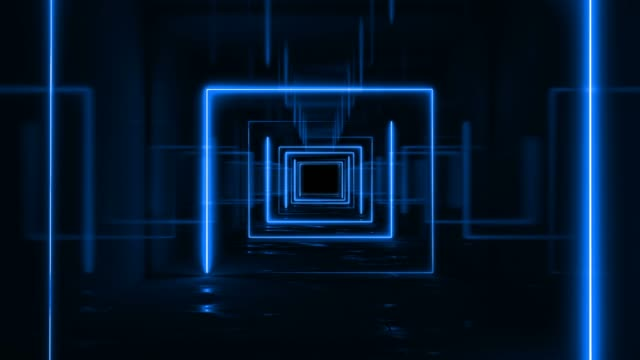 3d loop background neon blue square tunnel - music video stock videos & royalty-free footage
