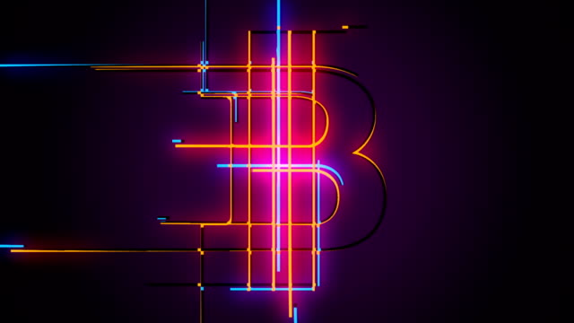 loop bitcoin emerging from lines background animation - single line stock videos & royalty-free footage
