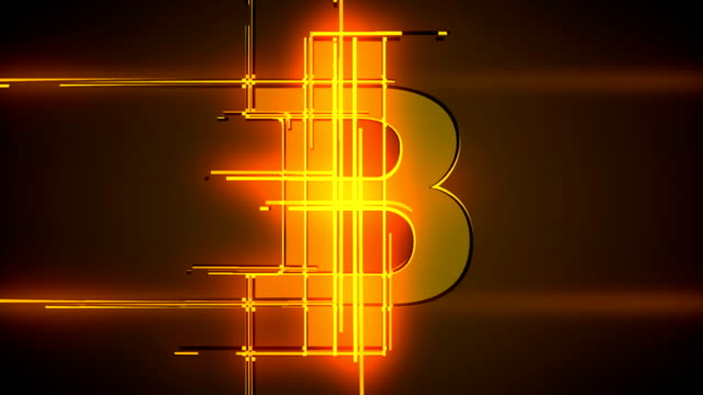 Loop bitcoin emerging from lines background animation