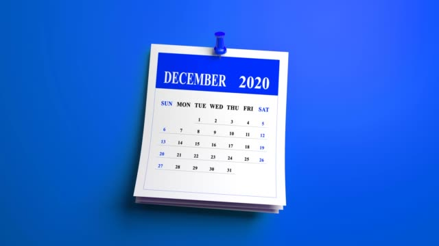 loop december month calendar page 2020 year on blue background - march month stock videos & royalty-free footage