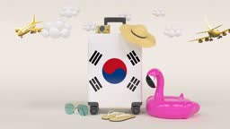 3D Loop Holiday Concept With South Korean Flag Suitcase