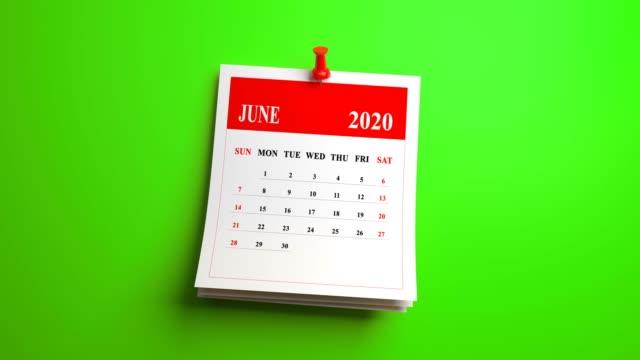 ループ 6 月カレンダー 2020 年 緑の背景 - 六月点の映像素材/bロール