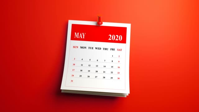 loop may month page of calendar 2020 year on red background - calendar stock videos & royalty-free footage