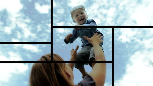 loop montage - happy family - video wall stock videos & royalty-free footage