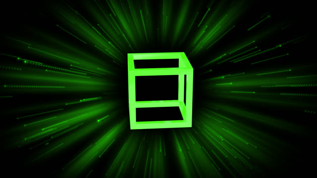 Loop ready 4K retro style background with a green theme. A single rotating skeleton cube with moving streaks and flares in the background.