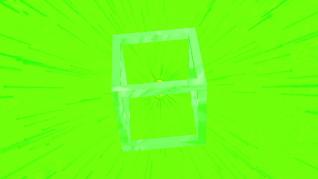 Loop ready 4K retro style background with a green theme. A single rotating skeleton cube with moving streaks and flares in the background. Saved with alpha channel.