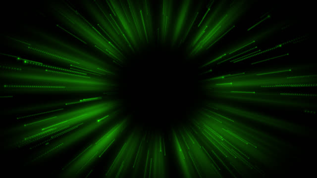 Loop ready 4K retro style background with a green theme and copy space in the centre of the frame with moving streaks and flares in the background.