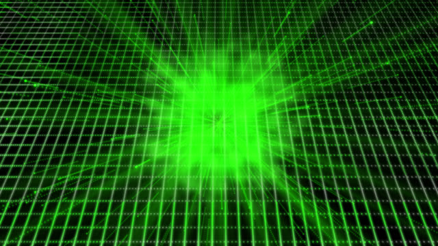 Loop ready 4K retro style background with a green theme. Moving streaks and flares are emitted from cloud of smoke, in the background is a grid.