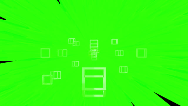 Loop ready 4K retro style background with a green theme. Turning cubes move from the distant centre to the edges of the clip. Moving streaks and flares are emitted from the centre in the background. Served with alpha channel.