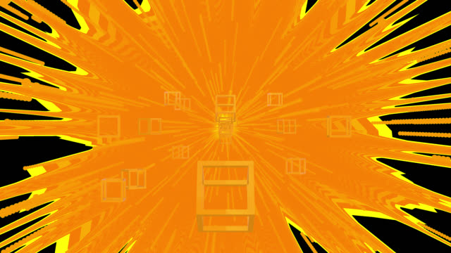 Loop ready 4K retro style background with a orange theme. Turning cubes move from the distant centre to the edges of the clip. Moving streaks and flares are emitted from the centre in the background saved with alpha channel.