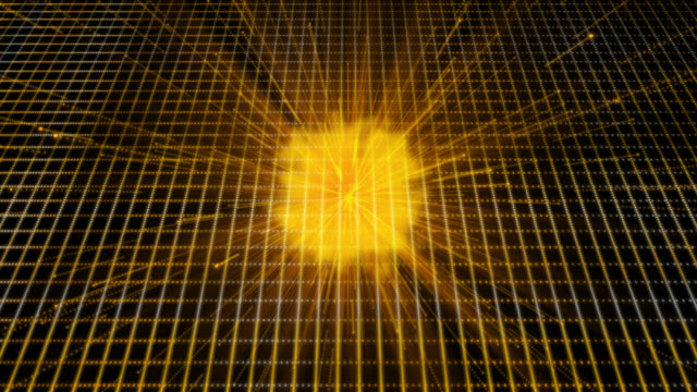 Loop ready 4K retro style background with an orange theme. Moving streaks and flares are emitted from cloud of smoke in the centre in front of a grid.