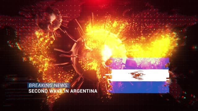 loop ready breaking news second wave in argentina title with flag against coronavirus covid-19 and map background - breaking news stock videos & royalty-free footage
