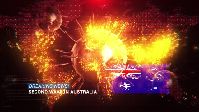 loop ready breaking news second wave in australia title with flag against coronavirus covid-19 and map background - illness stock videos & royalty-free footage