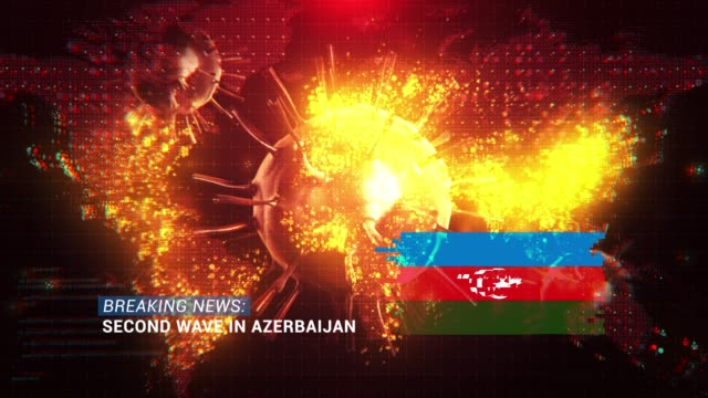 loop ready breaking news second wave in azerbaijan title with flag against coronavirus covid-19 and map background - breaking news stock videos & royalty-free footage