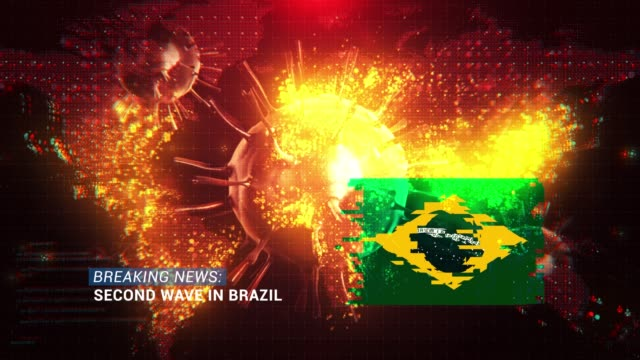loop ready breaking news second wave in brazil title with flag against coronavirus covid-19 and map background - breaking news stock videos & royalty-free footage