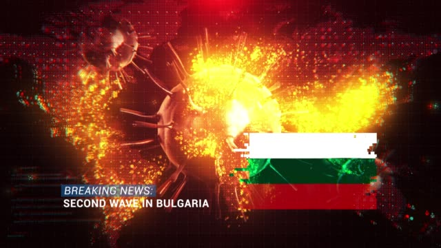 loop ready breaking news second wave in bulgaria title with flag against coronavirus covid-19 and map background - breaking news stock videos & royalty-free footage
