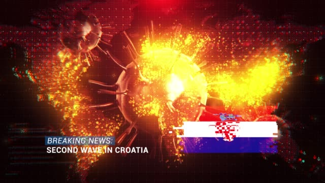 loop ready breaking news second wave in croatia title with flag against coronavirus covid-19 and map background - breaking news stock videos & royalty-free footage
