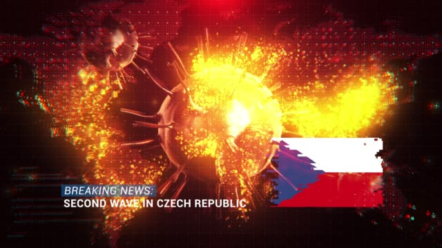 loop ready breaking news second wave in czech republic title with flag against coronavirus covid-19 and map background - breaking news stock videos & royalty-free footage