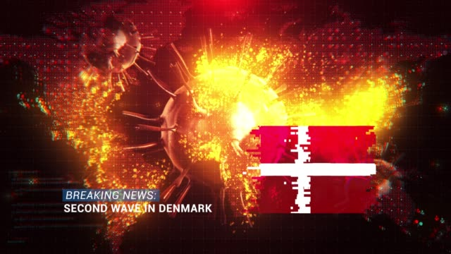 loop ready breaking news second wave in denmark title with flag against coronavirus covid-19 and map background - breaking news stock videos & royalty-free footage