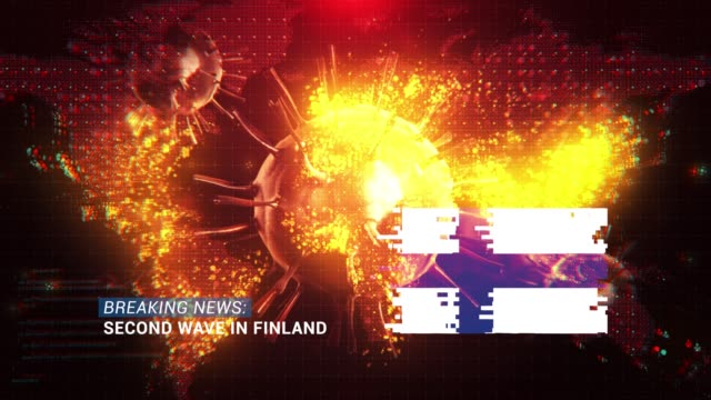 loop ready breaking news second wave in finland title with flag against coronavirus covid-19 and map background - breaking news stock videos & royalty-free footage