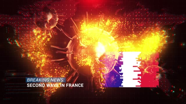 loop ready breaking news second wave in france title with flag against coronavirus covid-19 and map background - breaking news stock videos & royalty-free footage