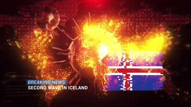 loop ready breaking news second wave in iceland title with flag against coronavirus covid-19 and map background - breaking news stock videos & royalty-free footage