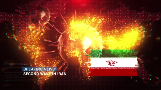loop ready breaking news second wave in iran title with flag against coronavirus covid-19 and map background - breaking news stock videos & royalty-free footage