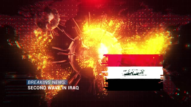 loop ready breaking news second wave in iraq title with flag against coronavirus covid-19 and map background - breaking news stock videos & royalty-free footage