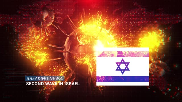 loop ready breaking news second wave in israel title with flag against coronavirus covid-19 and map background - breaking news stock videos & royalty-free footage