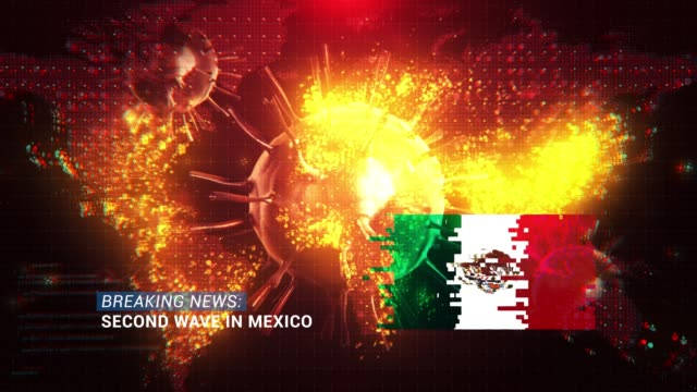 loop ready breaking news second wave in mexico title with flag against coronavirus covid-19 and map background - breaking news stock videos & royalty-free footage