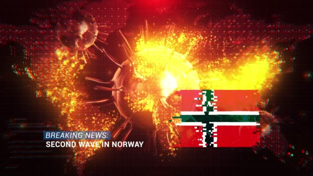 loop ready breaking news second wave in norway title with flag against coronavirus covid-19 and map background - breaking news stock videos & royalty-free footage
