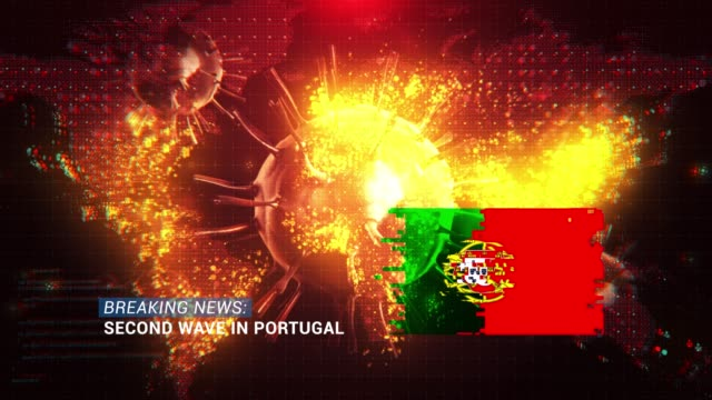 loop ready breaking news second wave in portugal title with flag against coronavirus covid-19 and map background - breaking news stock videos & royalty-free footage
