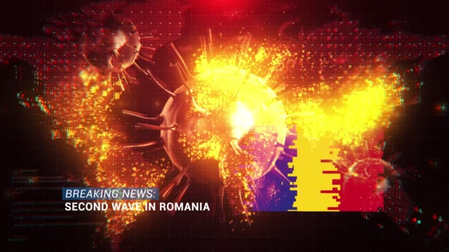 loop ready breaking news second wave in romania title with flag against coronavirus covid-19 and map background - breaking news stock videos & royalty-free footage