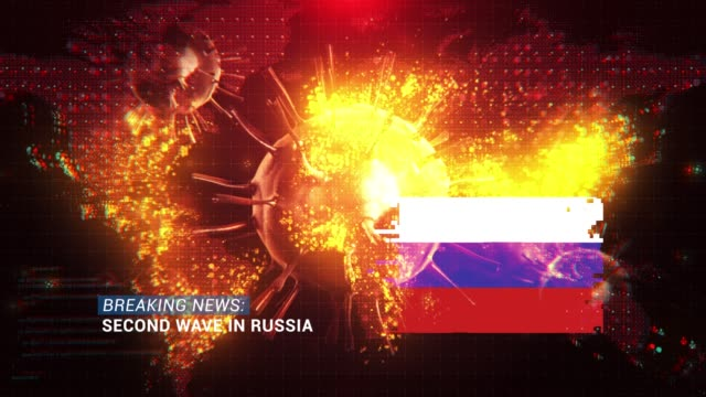 loop ready breaking news second wave in russia title with flag against coronavirus covid-19 and map background - breaking news stock videos & royalty-free footage