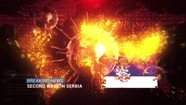 loop ready breaking news second wave in serbia title with flag against coronavirus covid-19 and map background - breaking news stock videos & royalty-free footage
