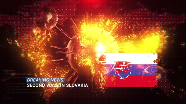 loop ready breaking news second wave in slovakia title with flag against coronavirus covid-19 and map background - breaking news stock videos & royalty-free footage