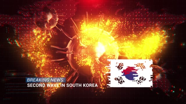 loop ready breaking news second wave in south korea title with flag against coronavirus covid-19 and map background - breaking news stock videos & royalty-free footage
