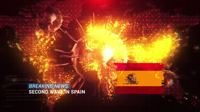 loop ready breaking news second wave in spain title with flag against coronavirus covid-19 and map background - breaking news stock videos & royalty-free footage
