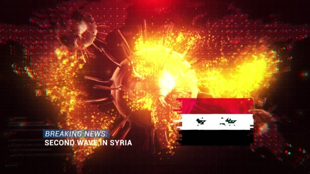 loop ready breaking news second wave in syria title with flag against coronavirus covid-19 and map background - breaking news stock videos & royalty-free footage